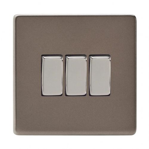 Varilight XDR3S Screwless Pewter 3 Gang 10A 1 or 2 Way Rocker Light Switch